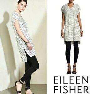 Eileen Fisher White Painterly Organic Linen Tunic